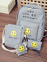 Women Bags All Seasons Canvas Backpack with for Casual Blue White Blushing Pink