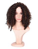 Top Quality Heat Resistant Short Curly Mixed Brown Color Wigs For Black Afro Women
