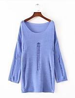 Normal Pullover Femme Sortie Décontracté / Quotidien simple,Couleur Pleine Col en U Manches Longues Acrylique Printemps Automne Fin Moyen