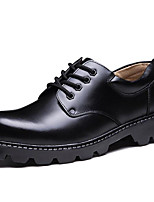 Men's Oxfords Fall Winter Formal Shoes Leather Outdoor Office & Career Party & Evening Casual Work & Safety Black Big Size