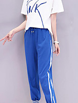 Women's Daily Casual Casual Summer T-shirt Pant Suits,Solid Quotes & Sayings Round Neck Short Sleeve Micro-elastic