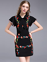 DFFD Women's Going out Work Vintage Simple Sheath DressEmbroidered Round Neck Above Knee Short Sleeve Polyester Summer Mid Rise Inelastic