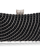 Women Evening Bag Polyester All Seasons Wedding Event/Party Formal Minaudiere Rhinestone Pearl Detailing Clasp Lock Blue Gold Black