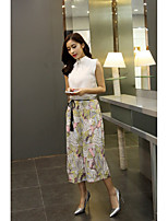 Women's Daily Casual Formal Pattern Spring Summer Blouse Pant Suits,Solid Floral Print Stand Sleeveless Mesh Modern Style Stylish strenchy