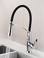 HPB Contemporary Pull Out Chrome Finish Brass Single Hole Single Handle Kitchen Faucet