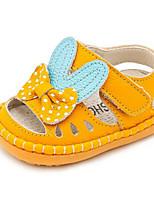Girls' Flats Comfort Cowhide Summer Casual Comfort Blushing Pink Yellow White Flat