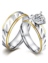 2PCS Couple's Rings  Simple Elegant Cubic Zirconia Titanium Steel Ring Jewelry For Wedding Anniversary Party