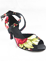 Women's Latin Silk Sandals Performance Pattern/Print Cuban Heel Black 3