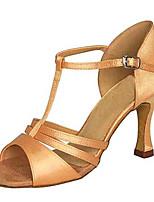 Для женщин Латина Шёлк Сандалии Концертная обувь С пряжкой На шпильке Миндальный 7,5 - 9,5 см Персонализируемая
