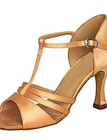Women's Latin Silk Sandals Performance Buckle Stiletto Heel Almond 3
