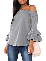 Women's Going out Casual/Daily Club Sexy Simple Street chic Ruffle Backless All Match Spring Fall T-shirtPlaid Boat Neck Long Flare Sleeve Medium