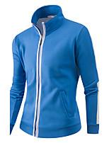 Для мужчин Спорт Бег Простой Активный толстовка с капюшоном куртки Однотонный Контрастных цветов Вырез под горло СлабоэластичнаяХлопок