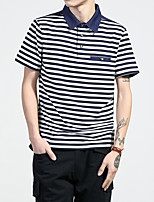 Men's Sports Plus Size Going out Casual/Daily Work Simple Street chic All Seasons Summer Polo,Striped Shirt Collar Short Sleeve Cotton