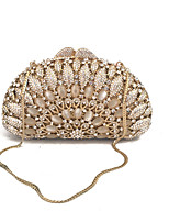 Women's Vintage Gold Evening Bags Box Clutches Crystal Minaudiere