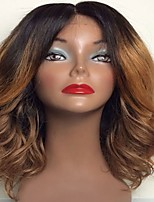 Chestnut Brown Middle Part Glueless Lace Front Human Virgin Hair Wigs Body Wave Ombre Dark Roots For Black Women