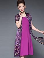 Women's Party Plus Size Vintage Shift Dress,Print Stand Knee-length Short Sleeve Chiffon Summer Mid Rise Inelastic Medium