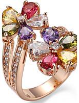 Ring Settings Ring Band Rings Women's Euramerican Luxury Elegant Creative Zircon Flower Multicolor Wedding Birthday Party Movie Gift Jewelry