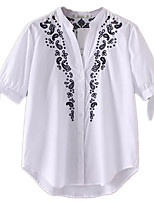 Women's Daily Casual Simple Blouse,Solid Round Neck 3/4 Length Sleeve Polyester
