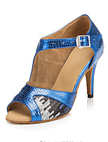 Women's Latin Faux Leather Sandals Performance Paillettes Cuban Heel Blue 2