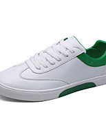 Men's Sneakers Comfort Light Soles Spring Fall PU Casual Lace-up Flat Heel White Black/White White/Green Flat