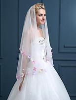 Elegant Fashion Wedding Veil Two-tier Blusher Veils Lace Applique Edge Lace Tulle