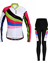 WOSAWE Cycling Jersey with Tights Women's Long Sleeves Bike Clothing Suits Moisture Wicking Quik Dry Reflective Strips Spandex Polyester