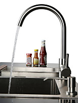 Contemporary Modern/Contemporary Vessel Widespread with  Ceramic ValveNickel Brushed , Kitchen faucet