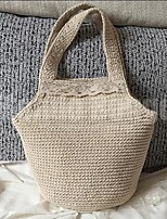 Women Shoulder Bag Linen All Seasons Casual Outdoor Round Without Zipper Beige