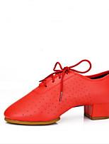 Damen Latin Kunstleder Sneakers Praxis Kubanischer Absatz Schwarz Rot 2,5 - 4,5 cm