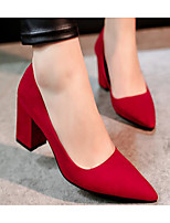 Women's Heels Basic Pump Spring Summer Real Leather PU Casual Black Gray Ruby 2in-2 3/4in