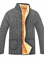 Пальто Простое На подкладке Для мужчин,Однотонный На каждый день Большие размеры Акрил Полиэстер Полипропилен,Длинный рукав