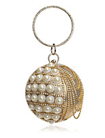 Women Evening Bag Polyester All Seasons Wedding Event/Party Formal Ball Rhinestone Pearl Detailing Clasp Lock Red Silver Black Gold Blue