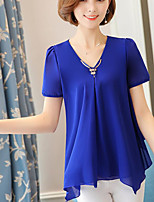 Women's Going out Cute Summer Blouse,Solid V Neck Short Sleeve Polyester Medium