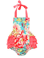 Baby Floral One-Pieces Cotton Blends Summer Sleeveless Hanging Neck Tutu Baby Girls Romper Bodysuits
