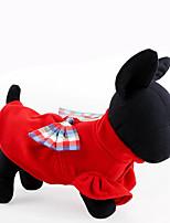 Собака Толстовка Одежда для собак На каждый день Бант Темно-синий Красный