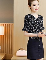 Women's Casual/Daily Modern/Comtemporary Summer T-shirt Skirt Suits,Botanical Print V Neck Short Sleeve