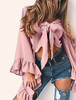 Women's Casual/Daily Sexy Cute Fall Winter Blouse,Solid V Neck Long Sleeve Polyester Medium