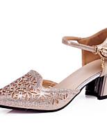 Damen Latin Schafspelz Sneakers Aufführung Blockabsatz Gold Silber 5 - 6,8 cm