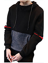 Men's Daily Casual Hoodie Mixed Color Hooded Micro-elastic Polyester Long Sleeve Fall Winter