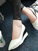 Women's Shoes PU Summer Comfort Heels For Casual White Black Blushing Pink