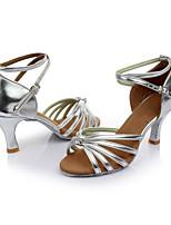 Damen Latin Kunstleder Sandalen Innen Maßgefertigter Absatz Silber Maßfertigung