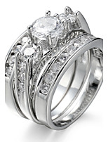 Ring Settings Ring Band Rings 3Pcs/Set Women's Luxury Noble Creative Rhinestone Zircon Geometric Wedding Party Movie Jewelry