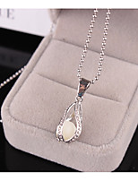 Women's Pendant Necklaces Imitation Pearl Rhinestone Pear Imitation Pearl Rhinestone Rhinestones Alloy Pendant Jewelry ForWedding Party