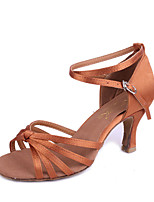 Women's Latin Silk Sandals Indoor Flared Heel Brown Beige Black