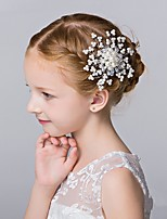 Girl's Bead Hairpin Faux Pearl Hair Comb Flower Girl Accessory