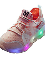 Boys' Athletic Shoes Comfort Light Up Shoes Summer Fall Spandex Tulle Running Shoes Athletic Outdoor Gore Flat Heel White Black Blushing