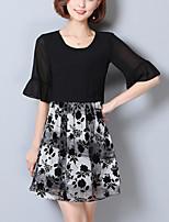 Women's Plus Size Slim chic Chiffon Dress Print Patchwork Ruffle False two  Round Neck Mini Half Sleeve Summer
