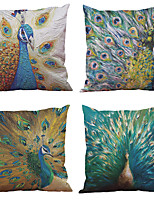 Set of 4  Peacock Pattern Rayon Material Looks Like Silk Feeling Square Throw Pillow Cases Sofa Cushion Cover (18*18inch)