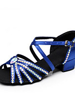 Women's Latin Silk Heels Practice Blue Camel Black