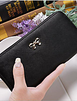 Women Checkbook Wallet PU All Seasons Casual Rectangle Zipper Blushing Pink Purple Black